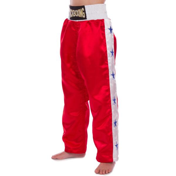 Штаны для кикбоксинга детские MATSA KICKBOXING MA-6735 6-14лет красный-белый