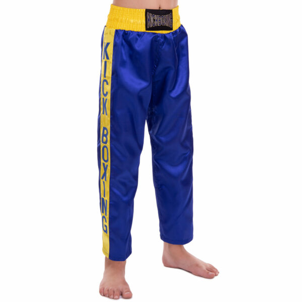 Штаны для кикбоксинга детские MATSA KICKBOXING MA-6736 6-14лет синий-желтый