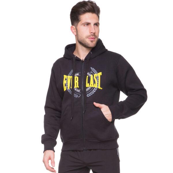 Толстовка спортивная на молнии с капюшоном ELS MA-4914 M-XL черный