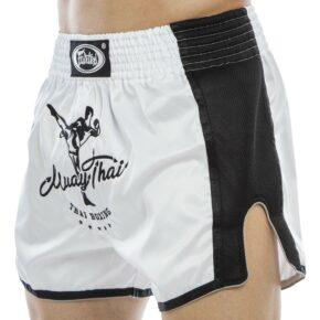 Шорты для тайского бокса и кикбоксинга FAIRTEX BS1707 S-XL белый-черный