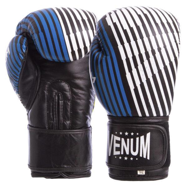 Перчатки боксерские кожаные VNM MA-6737 10-12 унций синий-желтый-черный