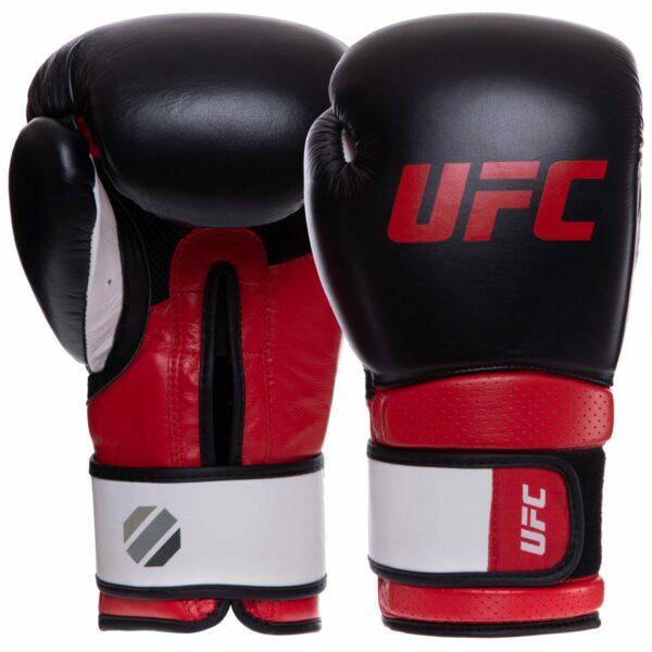 Перчатки боксерские кожаные UFC PRO Training UHK-69989 12 унций красный-черный