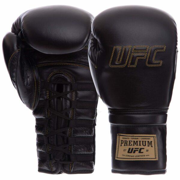 Перчатки боксерские кожаные професиональные на шнуровке UFC PRO Prem Lace Up UHK-75045 14унций черный