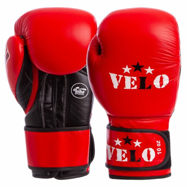 Перчатки боксерские профессиональные AIBA VELO 2080 10-12 унций красный