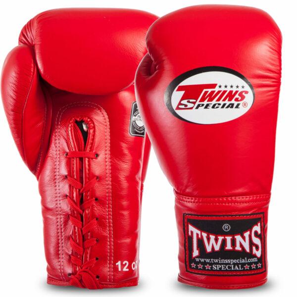 Перчатки боксерские кожаные професиональные на шнуровке TWINS BGLL1 12-18 унций цвета в ассортименте
