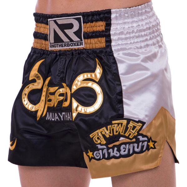 Шорты для тайского бокса и кикбоксинга SP-Sport BO-2344 M-XL черный-золотой-белый